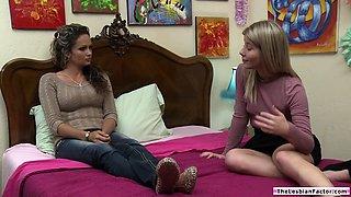 Lesbian babe seducing straight friend