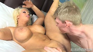 Busty chick Alura Jenson opens her legs for a hard prick