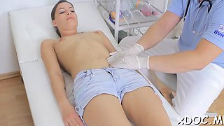 Sassy beauty visited her horny doctor and they had hawt sex