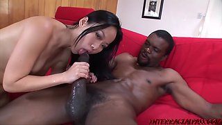 Asian babe tastes black man