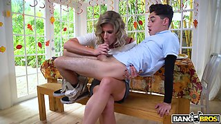 Slutty stepmom Cory Chase caught her stepson fucking a pie in the kitchen