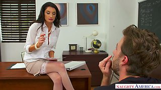 After seducing dude lusty professor Silvia Saige gets fucked on the table
