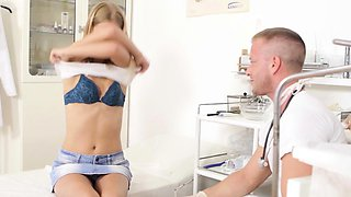 Horny doctor is fascinating his nasty patient, in the office
