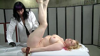 Extreme pussy insertion for a blonde submissive tied up chubby blonde