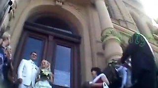 Wedding day bride upskirt