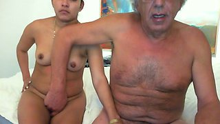 My dad  rub wet and itchy pussy of his young female lover on bed