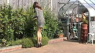 Sexy Milfy Tgirl Carley Mincing In The Garden