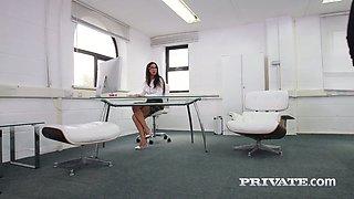 Two co-workers fuck nasty secretary Julia de Lucia in DP flying pose