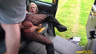 slutty milf gets fucked in a fake taxi