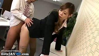 Japanese secretary seduces and fucks co worker