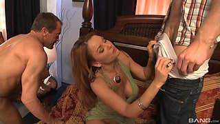 Wild threesome fucking at home between two guys and Janet Mason