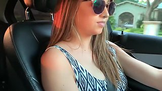 Hot Amateur feels Naughty amd Horny while Driving around town - Lexi Aaane