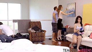 two teachers punish naughty teen students