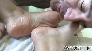 Stunning honey dominates dude and give a steamy footjob