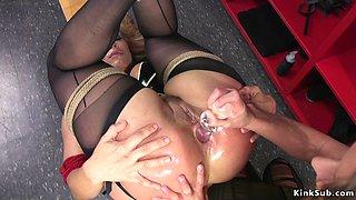 Wrestler spanks and anal toys blonde