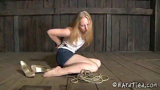 Leggy blond teen wearing jeans skirt is tied before rough fuck
