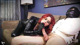 Fine redhead handjob latex
