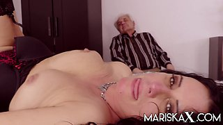 MILF fucks a guy in front of her husband