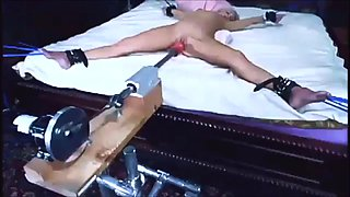 Blonde tied and machine fucked