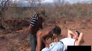 African Slut Enjoys Giving Lovely Head Outdoors
