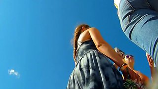 Cutie shows upskirt while fixing sandal