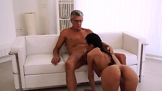 Old aunt and nephew Finally she's got her boss dick