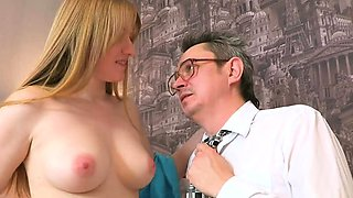 Playgirl is letting her older teacher taste her muff