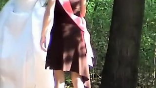 Bride and friend caught peeing outdoors