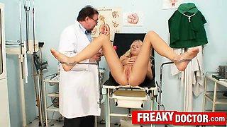 Czech doll Angel Wicky visits old gyno doctor