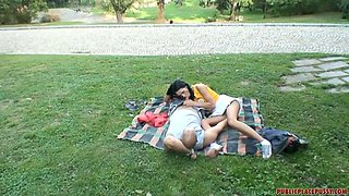 Kinky couple is making love in public place