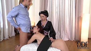Ivana Sugar licks tied up Mira Sunset's butt