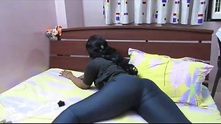 Skintight spandex hug that big black ass in bed