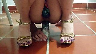 High heels purpple toe nails anal dildo