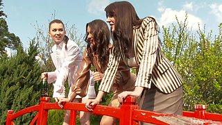 Samia Duarte and Samantha Bentley join a girl for a kinky three way