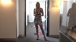 Cock-hungry blonde lifts up her skirt to show off her twat