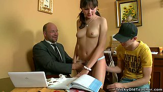 Mature freak is gonna how off hard sex lesson to his naughty young students