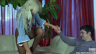 Adam and monika have anal pantyhose sex
