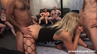 Mature slut with a pierced pussy gangbanged and cum covered