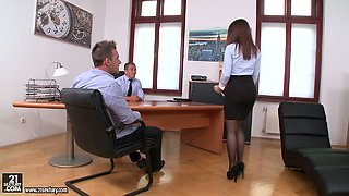 Seductive young secretary Evelina Darling is double penetrated in the office