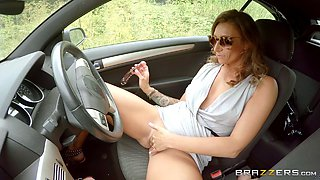 Ava Austen stops driving the car to enjoy the deepest penetration