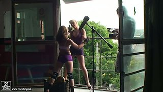 NudefightClub backstage with Aleska Diamond & Celine Doll
