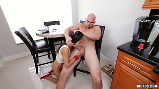 Exotic beauty in the short skirt letting the bald guy pound her pussy