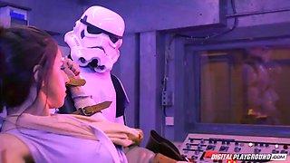storm trooper pounds rey after kylo ren's interrogation failure
