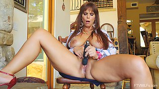 Fine mature with massive jugs, addictive home solo with her new toy