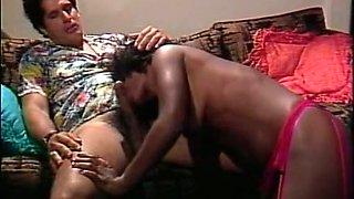 Fine and adorable ebony babe enjoys eating big white dick