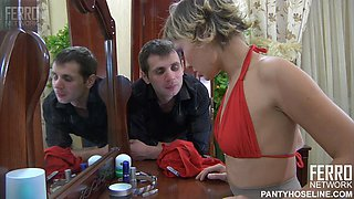 Sexy blonde slut in hot pantyhose gets rammed to the bone