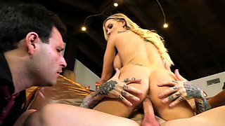 Cuckold humbly watches tattooed male fucking busty blonde wife
