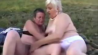 Fat Old Lesbian Couple Having Fun Outside