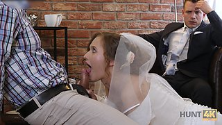 Whorish bride gives a blowjob and gets fucked in front of cuckold groom