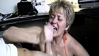 Milf Helps Lucky Guy's Cock Spurt With Jizz